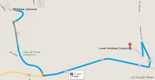 карта как добраться к каньону