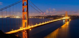 мост золотые ворота ночью