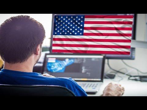 Флаг США и монитор