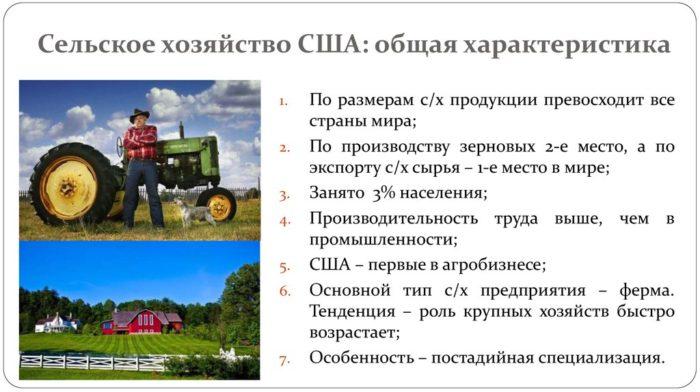 Особенности сельского хозяйства США
