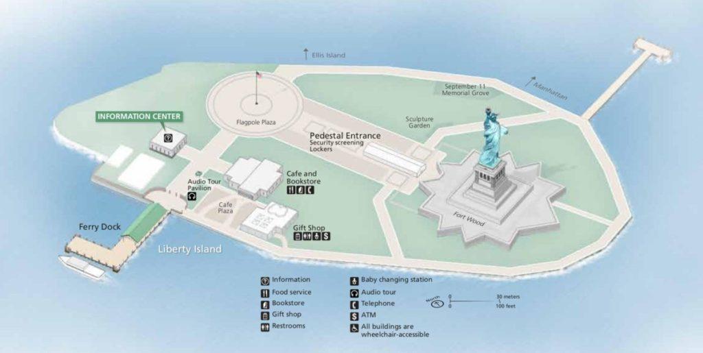 Расположение Статуи Свободы