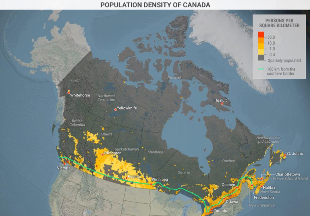 Плотность населения Канады