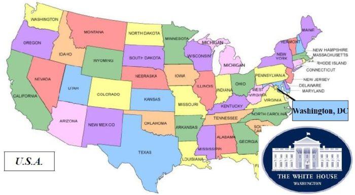 Белый дом на карте США